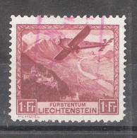 LIECHTENSTEIN Poste Aérienne / Luftpost / Airmail 1930, Yvert N° 6, 1 FRANC,Avion & Vallée Du Rhin Obl, TB, Cote  55e - Air Post