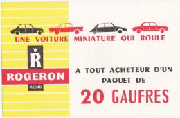 Buvard ROGERON REIMS / Gaufres / Voitures Miniatures - Sucreries & Gâteaux