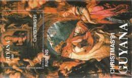 Guyana Block 160 (completa.Problema.) Usato 1991 Natale: Madonna Di Pittura - Guyana (1966-...)