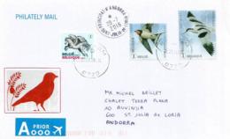 L'hirondelle Et L'Avocette élégante, Sur Lettre Oiseaux De Belgique Adressée ANDORRA, Avec Timbre à Date Arrivée - Passereaux
