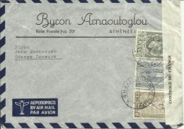 1950  Censored Letter (Contrôle De Change) From Athens (Byron Arnaoutoglou) To Odense, Danmark - Grecia