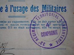 Correspondance Militaire - Cachet  33è Régiment Territorial D'infanterie - 4è Compagnie - FORT -ST- MENGE (52 ) - Marcophilie (Lettres)
