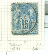 FRANCE - CAD TABLAT Cachet 25  (CATALOGUE MATHIEU)  BUREAU D´ALGER   RARE - Marcophilie (Timbres Détachés)