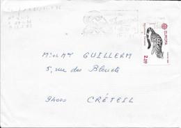 N° 2416   EUROPA  FRANCE  -  TARIF DU 1.08.85 AU 31.07.86  -  1986   FLAMME LE MONT D'OR - SEUL S/LETTRE - Marcophilie (Lettres)