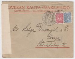 """Finland - Censor Cover Sent To Sweden 1916 From Lovisa, """"Öppnats Af Krigscensuren I Torneå"""" - Covers & Documents"""