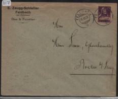 1918 Tell 128 - Brief Von Feldbach Nach Steg - E. Zaugg Glas & Porzellan - Suisse