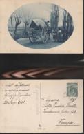 6635) CARRO E CONTADINE VIAGGIATA 1911 SCRITTA A MATITA MOGLIANO VENETO - Treviso