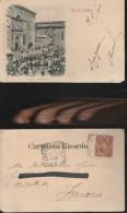 6647) ASCOLI PICENO PALAZZO PREFETTIZIO E LA PIAZZA CON MERCATO VIAGGIATA 1900 - Ascoli Piceno