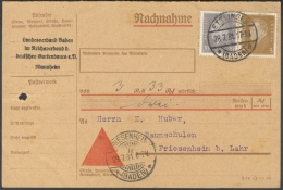 B683 DR Beleg Drucksache Als Nachnahme 1931 MEF Mi. 410 436  Portogerecht 23 Pf. Handstempel Ettlingen Baden Friesenheim - Covers & Documents