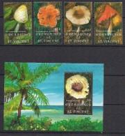 Grenadines Of St. Vincent 1992 Mushrooms Mi  919-921, 925 And  Bloc 105, MNH(**) - Mushrooms