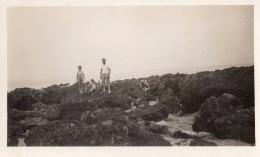 Photo Originale Plage Et Maillot De Bain - Trouville  - Photo Maurice - Père Et Enfants Dans Les Rochers Vers 1930 - Anonymous Persons