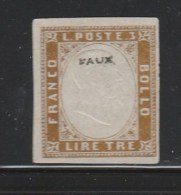 Italy Italia 1855 - 1861 Quarta Emissione Di Sardegna 3 Lire Marked  FAUX Not Genuine (B356-25) - 1861-78 Victor Emmanuel II