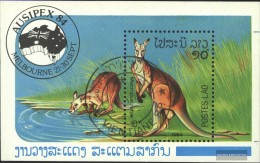 Laos Block105 (complete Issue) Fine Used / Cancelled 1984 Red Giant Kangaroo - Laos
