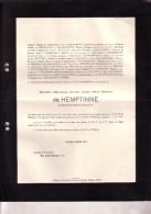 ANGOLA SAINT-DENIS-WESTREM Maximilien De HEMPTINNE Lt De Réserve 1902 - Accident Angola 3 Mai 1931 Doodsbrief - Décès