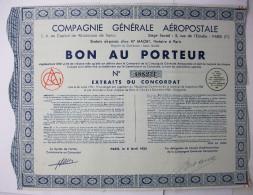 1935 - COMPAGNIE GENERALE AEROPOSTALE - Bon Au Porteur - Aviation