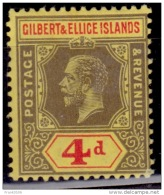 Gilbert & Ellice Islands, 1912-1924, King George V, 4p, MLH - Gilbert- Und Ellice-Inseln (...-1979)