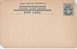POSTAL  CARD  OVPT. ORANGE  RIVER  COLONY  Fault  * - South Africa (...-1961)