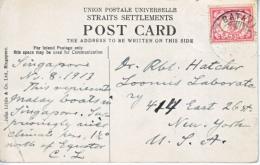 SINGAPORE  BOAT  QUAY STRAITS  SETTLEMENTS  MAIL  BATIVE  NETH. INDIES TO U.S. 1913 - Malaya (British Military Administration)