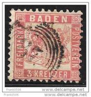 Germany, 1862, Baden, 3kr, Sc#20, Used - Baden