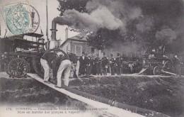 CARTE POSTALE CORBEIL Pompiers Mise En Marche Des Pompes à Vapeur - Corbeil Essonnes