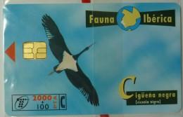 SPAIN - Chip - 2000 Units - Fauna Iberica III - Ciguena Negra - 08.98 - B-076 - Mint Blister - España
