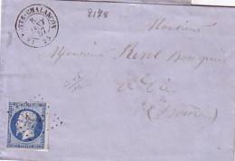 DROME - LA MOTTE CHALENCON - LE 8 JANVIER 1857 - EMPIRE N°14 OBLITERATION PC2178 - SANS TEXTE - INDICE 10 COTE 65€. - Marcophilie (Lettres)