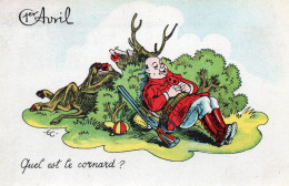4932. CPSM CHASSEUR 1er AVRIL. QUEL EST LE CORNARD ? 1949 - Humour