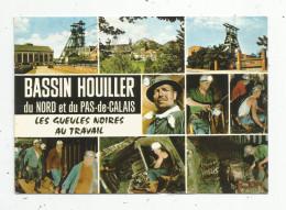 Cp , METIER , MINES , Bassin Houiller Du Nord Et Du Pas De Calais , Multivues , Voyagée 1985 , Ed : Europ , NC 28 - Mines