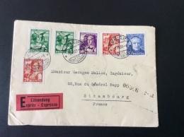 Suisse Schweiz PRO JUVENTUTE 1933 Satz Auf EXPRES / EILSENDUNG Brief ZÜRICH > Strassbourg, France (lettre - Schweiz