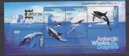 "AAT 1996 Whales & Dolphins M/s Overprinted ""Capex"" ** Mnh (31356) - Australian Antarctic Territory (AAT)"