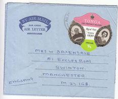 Tonga: 6 Aerogrammes, Nukualofa To Manchester, 1970-72 - Tonga (1970-...)