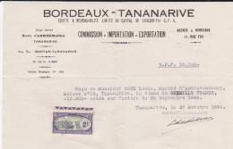 BORDEAUX-TANANARIVE--commission-importation-exportation--avec Timbre Enregistrement--voir Scans - Transports