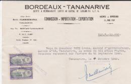 BORDEAUX-TANANARIVE--commission-importation-exportation--avec Timbres Enregistrement--voir Scans - Transports