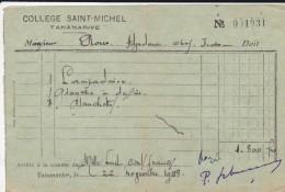 MADAGASCAR---TANANARIVE--college SAINT-MICHEL--voir Scans - Factures & Documents Commerciaux