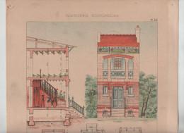 Architecture Habitations Economiques Petite Villa D´artiste Coupe élévation  Pinteux Architecte Vers 1910 Rare - Architecture