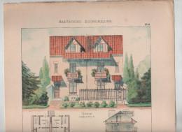 Architecture Habitations Economiques Maisons Jumelles Dans L'Est  Vial Architecte Vers 1910 Rare - Architecture
