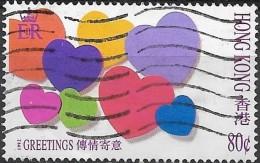 HONG KONG 1992 Greetings Stamps - 80c Hearts FU - Hong Kong (...-1997)
