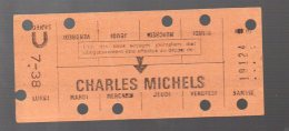 (Paris) (métro) Carte Hebdomadaire Station CHARLES MICHELS. 1938. (PPP3723) - Abonnements Hebdomadaires & Mensuels