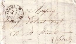 DROME - ST VALLIER-S-RHONE - T12 DU 27MARS 1843 - TAXE MANUSCRITE 3 POUR ST ETIENNE. - Marcophilie (Lettres)