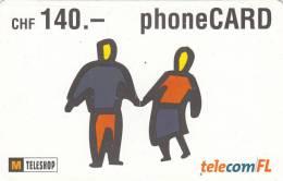 LIECHTENSTEIN - Couple, Telecom FL Prepaid Card CHF 140, Exp.date 07/05, Used - Liechtenstein