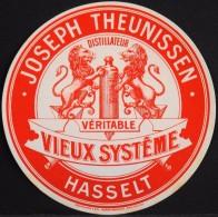 """ETIQUETTE PUBLICITAIRE Pour """" VIEUX SYSTÊME HASSELT """" - Distillateur - Parfait état - Advertising"""