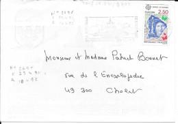N° 2696  EUROPA FRANCE  -  ESPACE GUYANE -  TARIF DU 18.08.91 AU 9.07.92  -   1991 SEUL SUR LETTRE - Marcophilie (Lettres)
