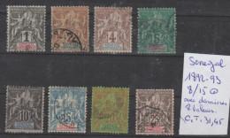 TIMBRES NEUF ( SENEGAL )  O NR 8/15 O AVEC CHARNIERES  8 VALEURS   1892 -93 PAPIER TEINTE  COTE 31.45€ - Senegal (1960-...)