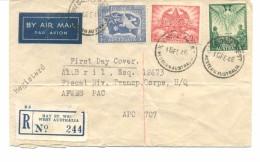AUSTRALIA, 18.02.1946 BAY ST. WEST, PEACE SET, REGISTERED MAIL FDC TO U.S. APO - Ersttagsbelege (FDC)