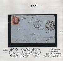 TP 12A S/L.c.Louvain 14/7/1859 + Ambulant Belg.Quiévrain  V.Bayeux Calvados C.d'arrivées PR3237 - Postmark Collection