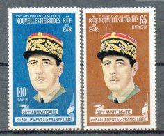NOUVELLES HEBRIDES  Timbres Neufs ** De 1970   ( Ref 3649 ) Général De Gaulle - Leyenda Francesa