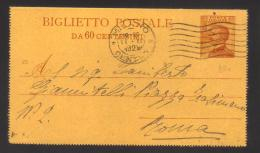 6480-Biglietto Postale Postal Stationery Filagrano B20 Usato - 1900-44 Vittorio Emanuele III