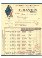 "ALGERIE :    Manufacture De Tabacs, Cigars & Cigarettes    "" J. BASTOS ""   Oran 1954 - France"