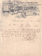 ESPAGNE - BARCELONA , BARCELONE - TALLERES DE CONSTRUCCION , ATELIERS CONSTRUCTION - JOSE PANE S. EN CTA - LETTRE 1907 - Espagne