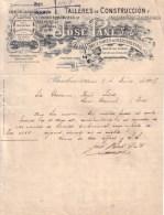 ESPAGNE - BARCELONA , BARCELONE - TALLERES DE CONSTRUCCION , ATELIERS CONSTRUCTION - JOSE PANE S. EN CTA - LETTRE 1907 - Spagna